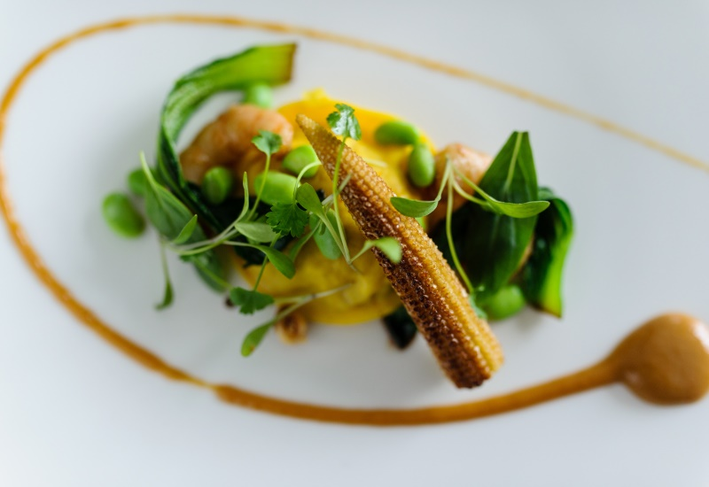Ravioli with charred sweetcorn