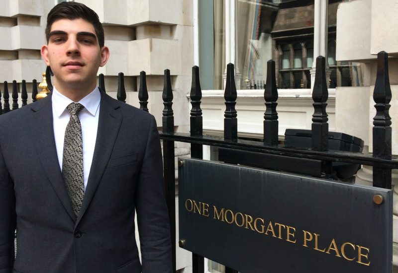 Dimitrios outside of One Moorgate Place